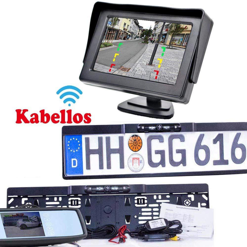 Nachtsicht /& Abstandslinien iOS Kompatibel mit Android Rear View Camera RFK-78 WiFi R/ückfahrkamera in Nummernschildhalter Bis zu 5 Jahre Garantie Handy /& Tablet