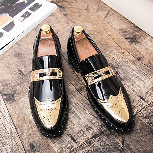 Pelle a da Casual con Brogue Scarpe Oxford da Uomo Verniciata Scarpe Punta Cricket Gold in Business 8vdBqv