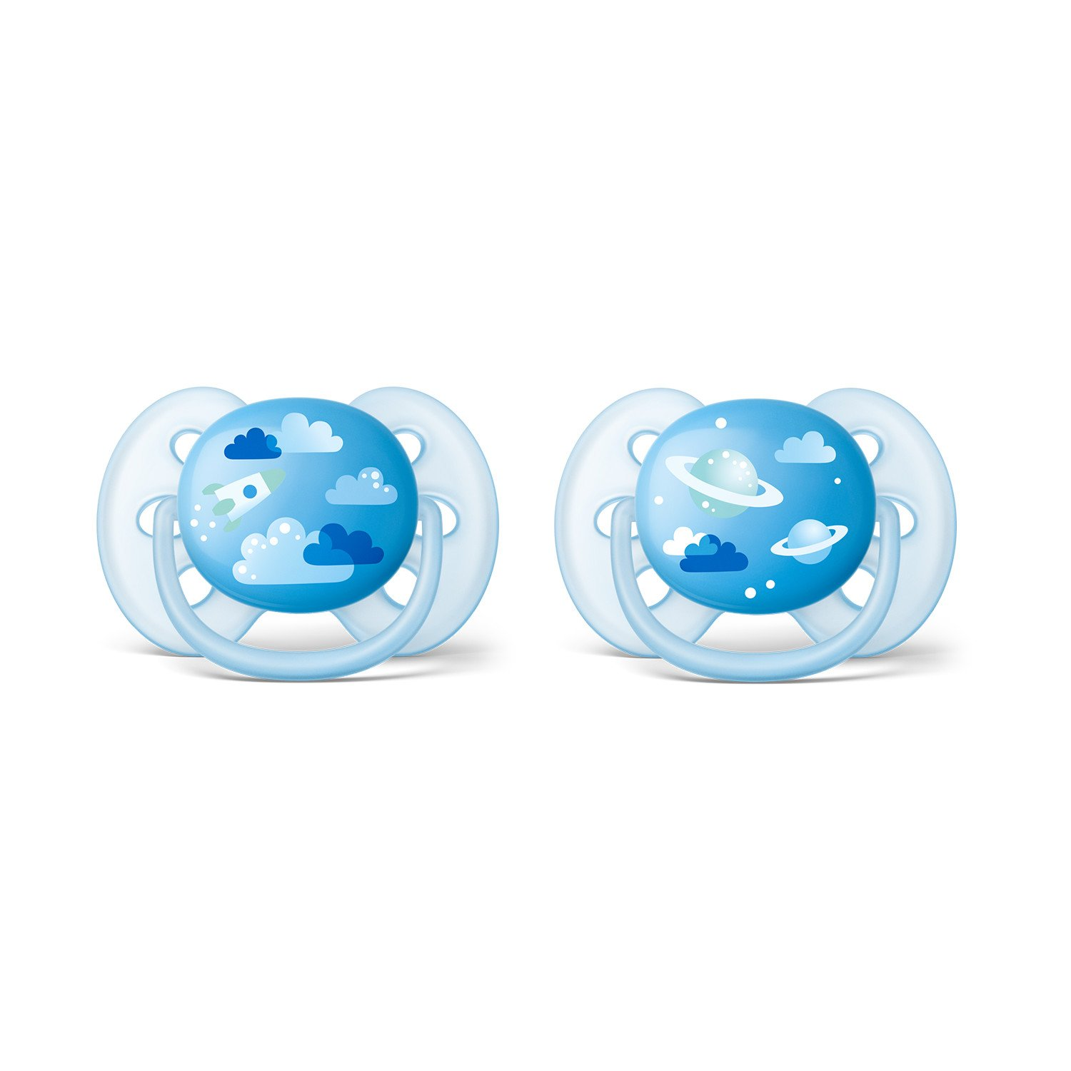 Philips Avent SCF222/22 - Pack de dos chupetes ultra suaves y flexibles, decorados, 6-18 meses, niño, color azul cielo