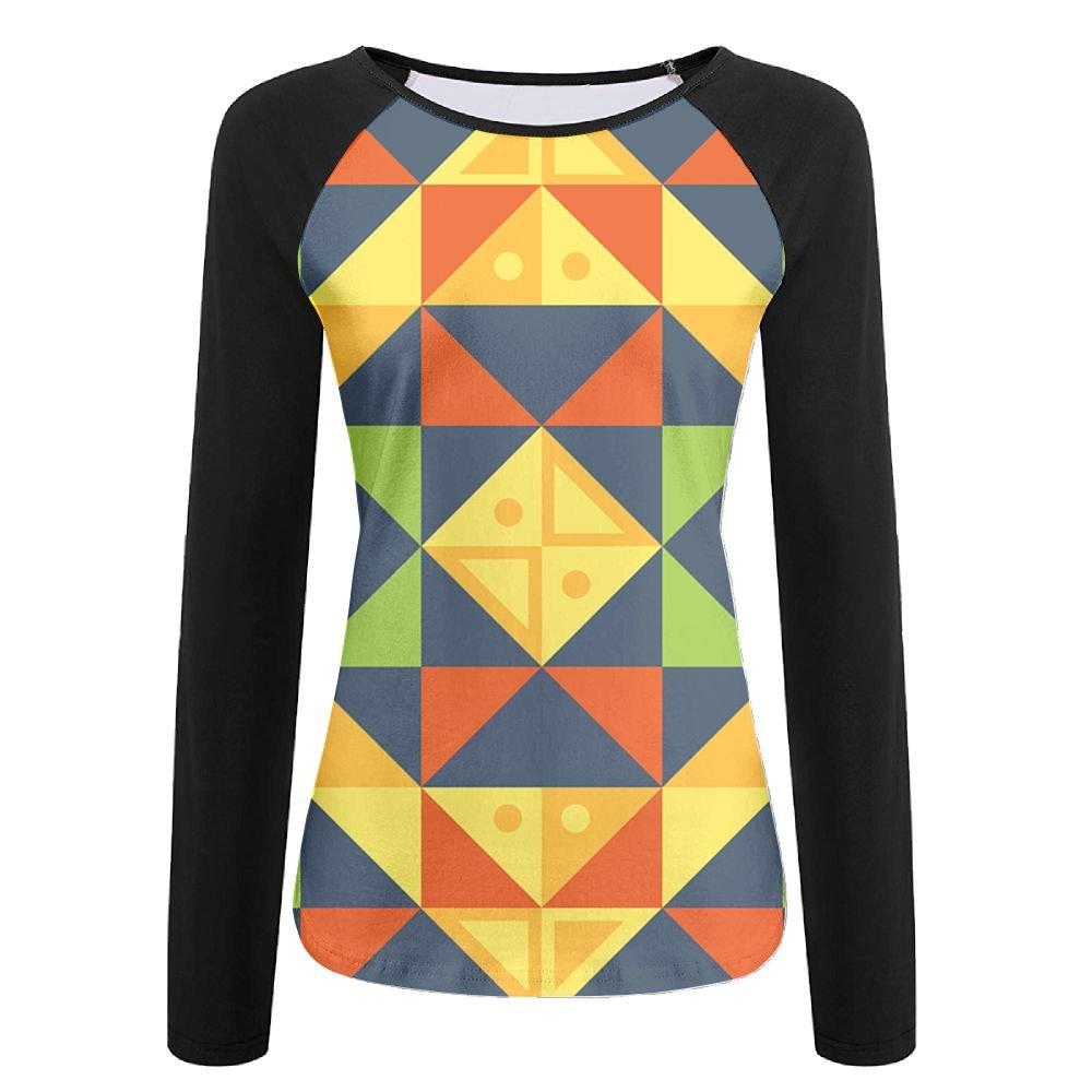 c4fda70e846c MASDUIH Womens 3D Print Geometric Squares Graphics Long Sleeve Shirt  Vintage Baseball Shirts at Amazon Women's Clothing store: