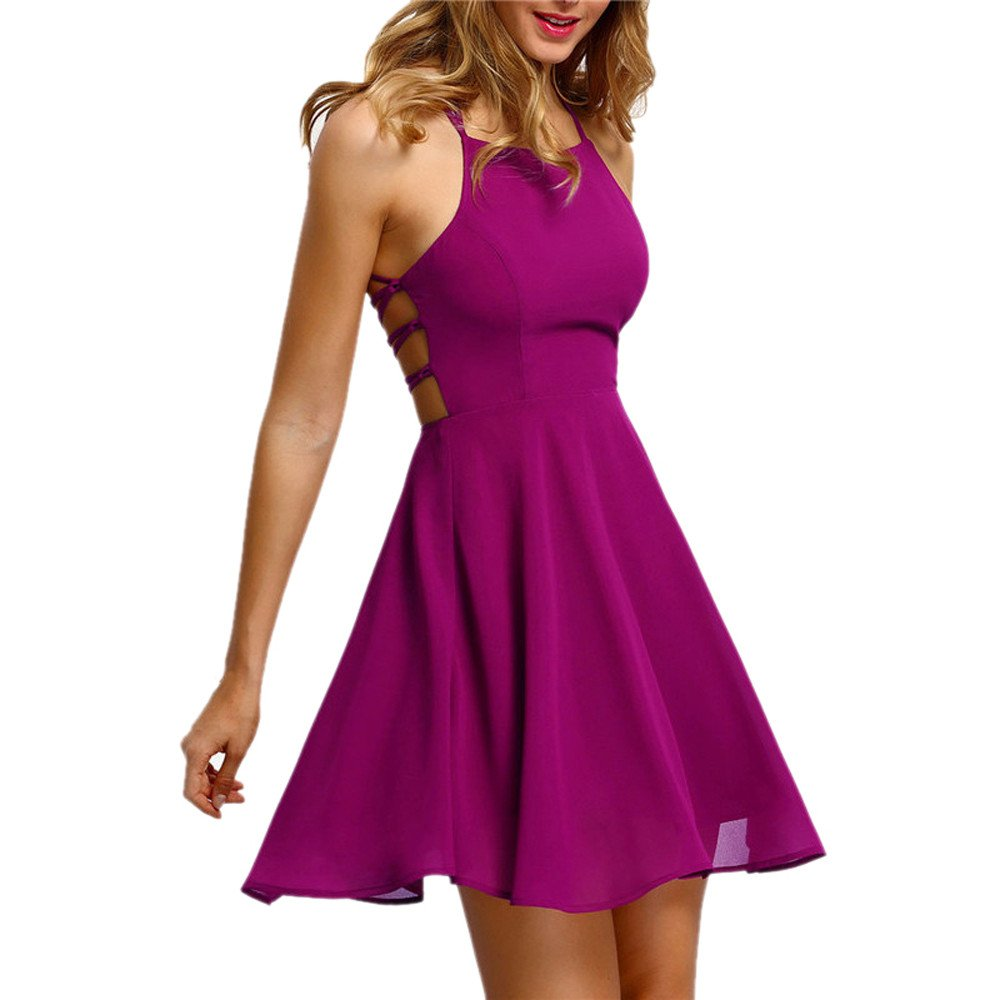 Women's Cocktail Dresses Party Backless Bandage O-Neck Sleeveless Solid Sexy Mini Dress Hot Pink