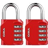 【Nueva Versión】Oria 2 Pcs Combinación de candados, Candados Combinación de Seguridad con Combinaciones de 4 Dígitos Reajustable, Ideal para Locker de Gimnasia Escolar, Archivadores y Más -Rojo