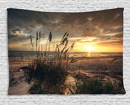 Scene Wall Tapestry (Beach Tapestry by Ambesonne, Calm Coastal Scene with Horizon in the Middle of Nowhere Cloudy Sunset Ocean Picture, Wall Hanging for Bedroom Living Room Dorm, 80WX60L Inches, Tan Yellow)