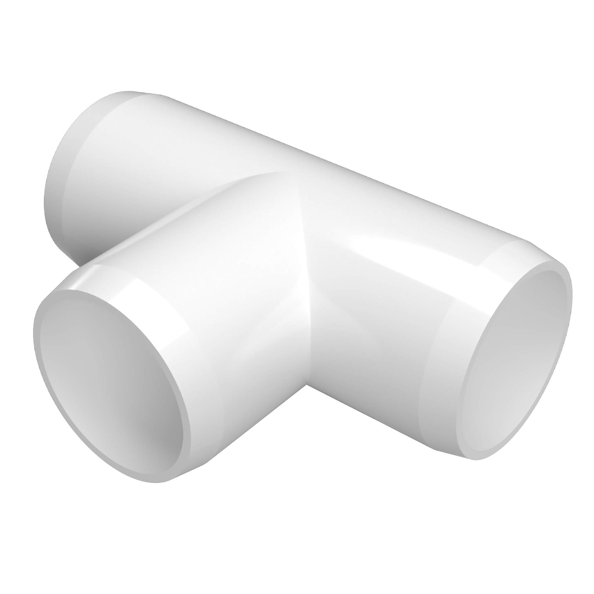 FORMUFIT F002TEE-WH-4 Tee PVC Fitting, Furniture Grade, 2'' Size, White (Pack of 4)