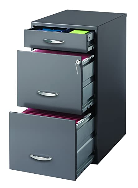 Perfect Hirsh SOHO 3 Drawer File Cabinet In Charcoal