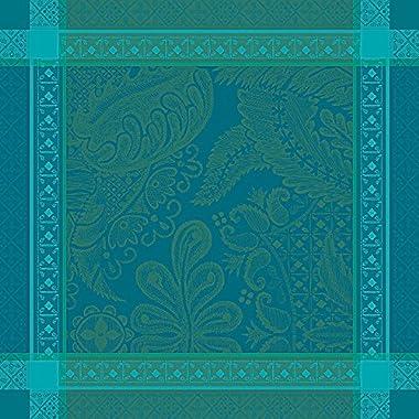 Garnier-Thiebaut Set of 4 Isaphire Emeraude Cloth Napkins, 21  X 21 , 100% Cotton, Made in France