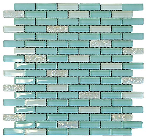 Baby Blue and White Crystal Glass Mosaic Tile Brick Pattern (Glossy&Matte) for Bathroom and Kitchen Walls Kitchen Backsplashes By Vogue Tile (Free Shipping) (Brick Glass Mosaic Tile)