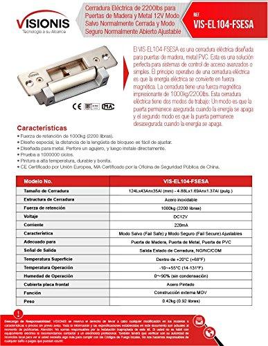 Visionis VIS-EL104-FSESA Cerradura Eléctrica de 2200lbs para Puertas de Madera y Metal Modo Salvo Normalmente Cerrada y Modo Seguro Normalmente Abierto ...