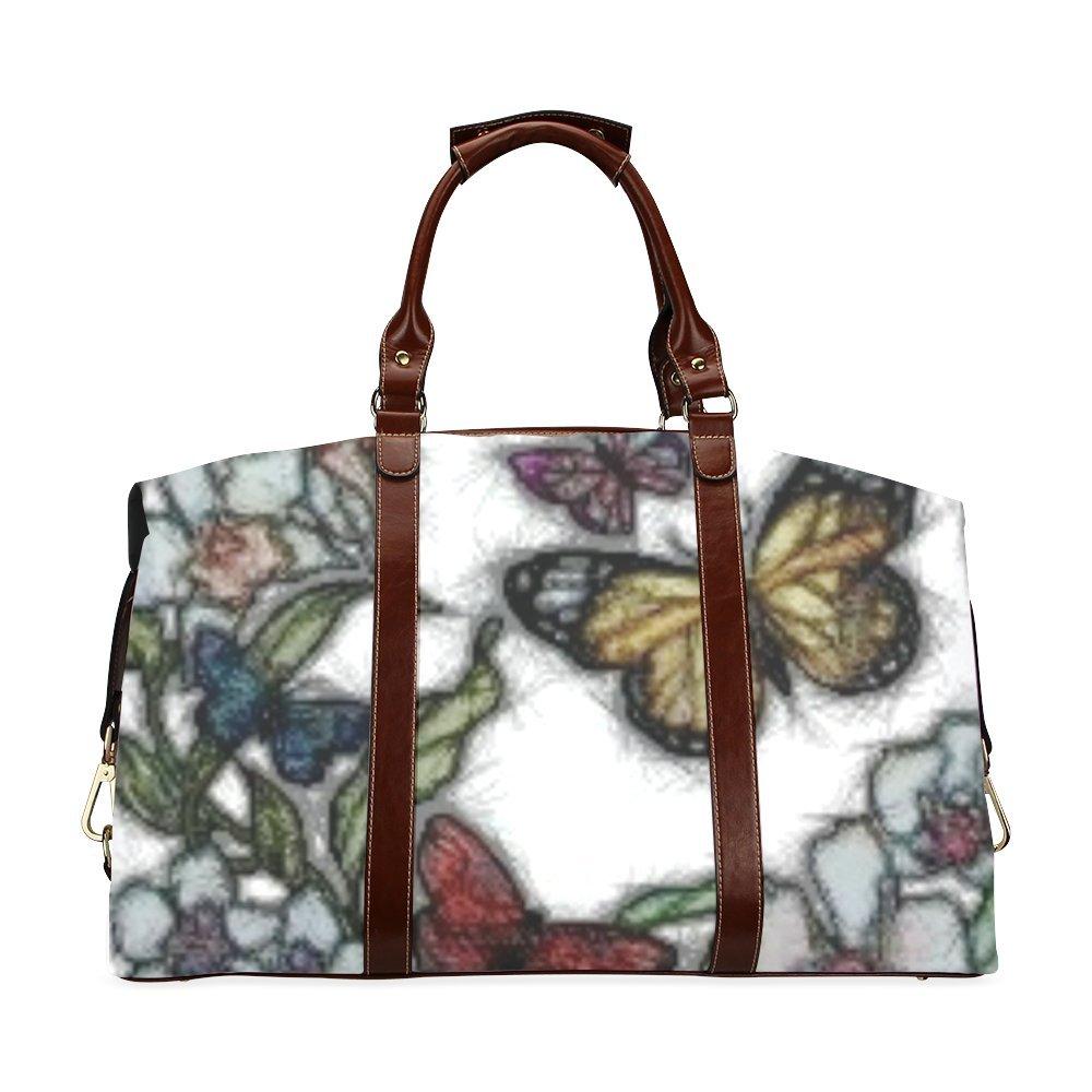 Butterflies And Flowers Custom Waterproof Travel Tote Bag Duffel Bag Crossbody Luggage handbag