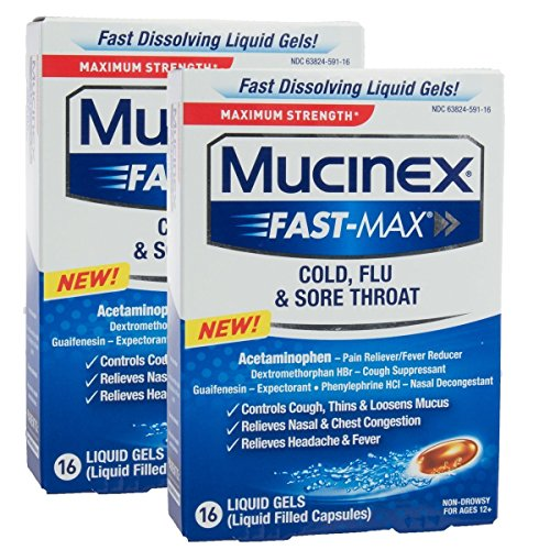 Mucinex Fast-Max Max Strength, Cold, Flu, & Sore Throat Liquid Gels 16 ea ( Pack of 2)