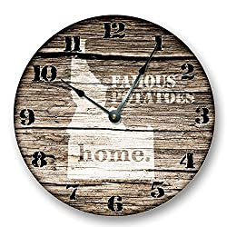 IDAHO State Map Wall Clock old weathered boards rustic cabin country decor