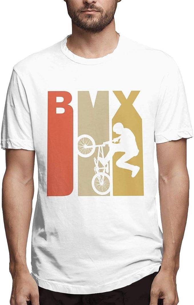 Camiseta de Manga Corta Estilo Retro de los años 70 con Silueta BMX, para Correr, Estilo Hipster, para Hombre Blanco Blanco 3XL: Amazon.es: Ropa y accesorios