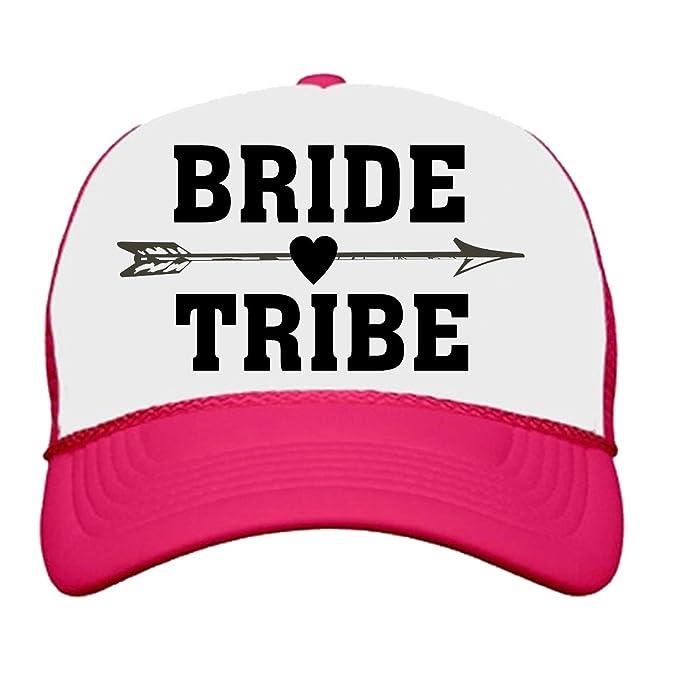a0747c5c48c Custom Apparel R Us Bride Tribe Neon Trucker Snapback Hats Bachelorette  Party Neon Pink