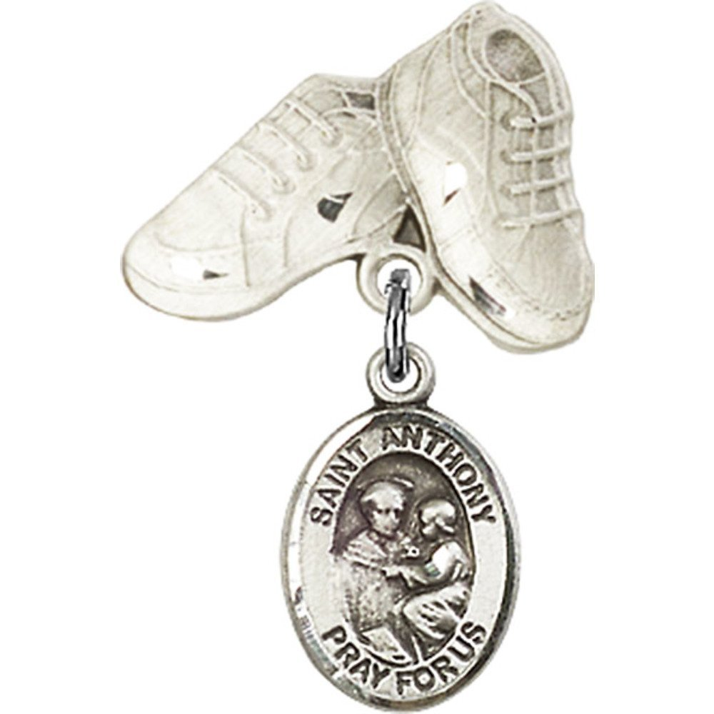 Sterling Silver Baby Badge with St. Anthony of Padua Charm and Baby Boots Pin 1 X 5/8 inches