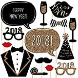 New Years Eve Party - Gold - Photo Booth Props Kit - 20 Count