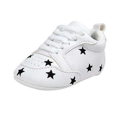 ESTAMICO Chaussures bébé garçon premier pas,Baskets blanches à lacets unisex bébé