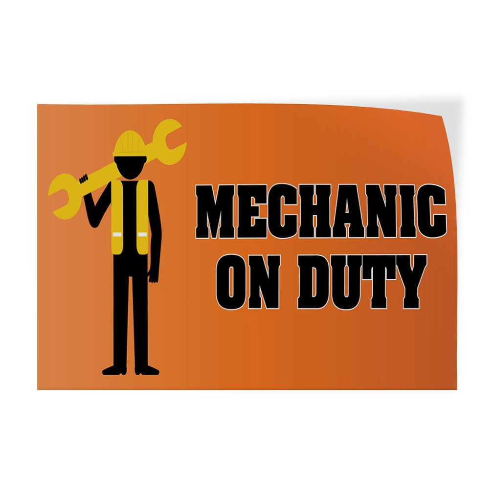 Mechanic On Duty ! #3 Indoor Store Sign Vinyl Decal Sticker - 14.5inx36in,