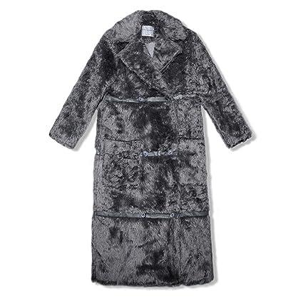 JIN PING® abrigo, invierno mujeres europeas y americanas doble pechera abrigo largo femenino rodilla