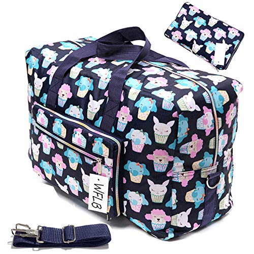 Womens Foldable Travel Duffel Bag 50L Large Cute Floral Travel Bag Hospital Bag Weekender Overnight Carry On Bag Checked Luggage...