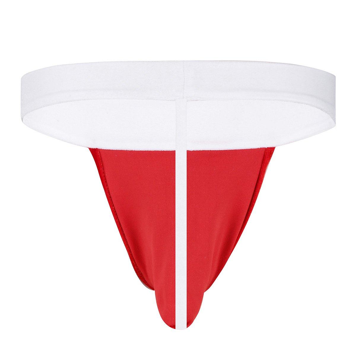 FEESHOW Tanga Slip hombre como un Gorro de Navidad Disfraz hombre Bikini ropa interior Atractiva Rojo XL: Amazon.es: Ropa y accesorios