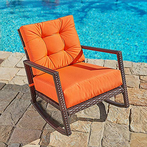 (SUNCROWN Outdoor Furniture Vibrant Orange Patio Rocking Chair | All-Weather Wicker Seat with Thick, Washable Cushions | Backyard, Pool, Porch | Smooth Gliding Rocker with Improved Stability)