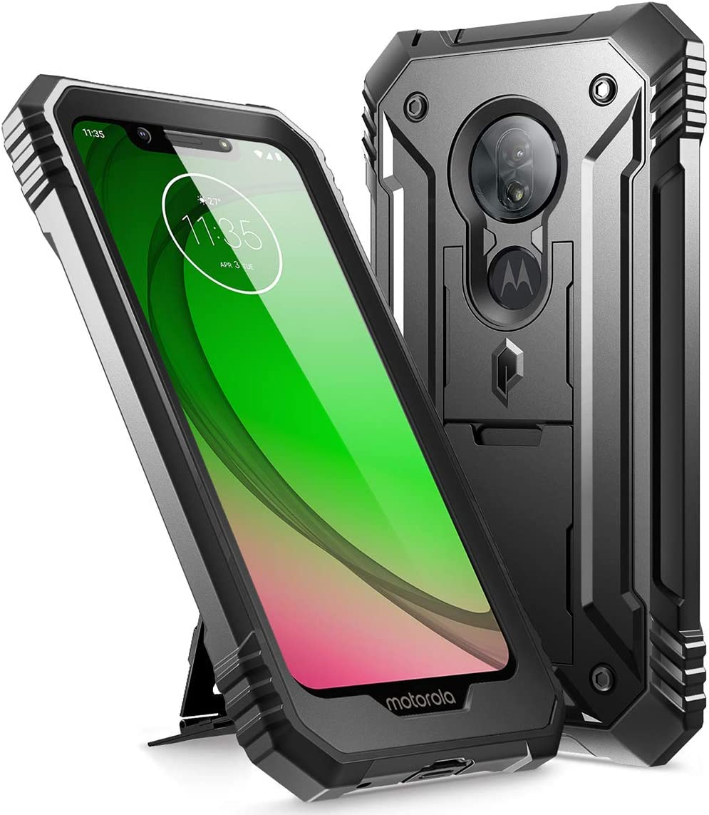 2 Pack Defender Phone Case with Magnetic Car Holder Mount Kickstand JSFS Red Not Fit G7 Power//G7 Play , Moto G7 Plus Case with Tempered Glass Screen Protector LeYi Moto G7 Case Military Grade