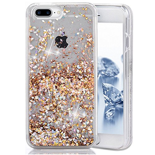 SUPVIN Bling Glitter Sparkle Shiny Liquid Phone Case for Girls Women Floating Bumper Cute Case with Rhinestone Diamond [TPU+PC] Compatible for iPhone 7 Plus/iPhone 8 Plus(Gold)