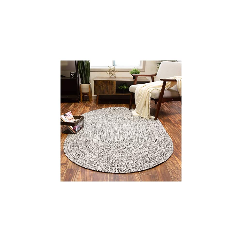 Super Area Rugs Farmhouse Braided Rug Cotton Kitchen Reversible Carpet, Black & White, 4' X 6'