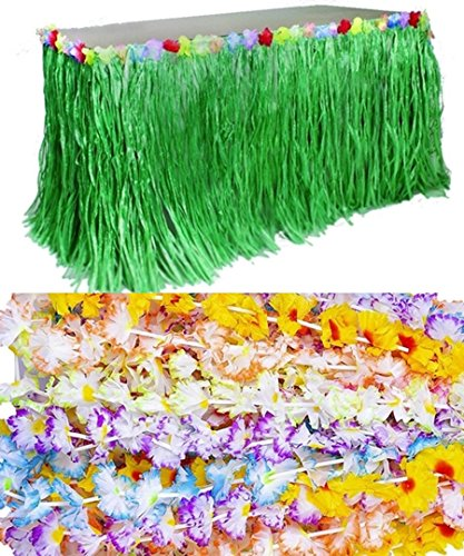 (GREEN) Luau Party Kit - Includes Flower Grass Table Skirt + 12 carnation Flower Leis (Carnation Leis)
