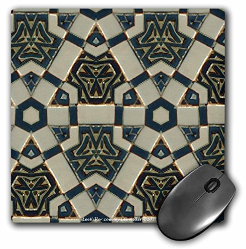 Lee Hiller Designs Kaleidoscope - Kaleidoscope Tiles Teal Cream - MousePad - Cream Kaleidoscope
