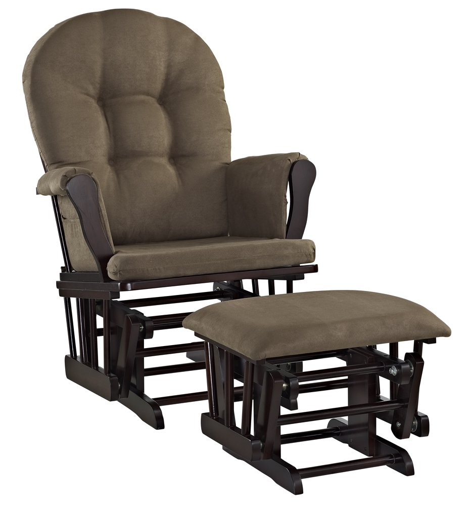galleon angel line windsor glider and ottoman set espresso with chocolate cushion. Black Bedroom Furniture Sets. Home Design Ideas