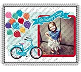 1/2 Sheet Oh Happy Day Bicycle Add Your Picture Photo Frame Edible Image Cake Topper