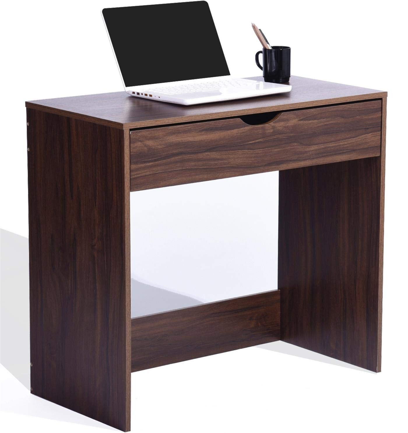Computer Writing Desk with 1 Storage Drawer Wooden Study Table Desk for Home Office, Walnut Brown TAR012
