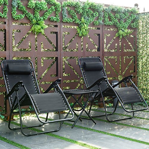 Giantex 3 PCS Zero Gravity Chair Patio Chaise Lounge Chairs Outdoor Yard Pool Recliner Folding Lounge Table Chair Set (Black)