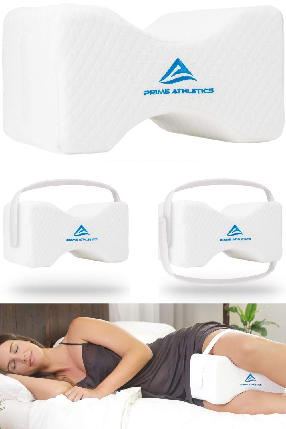 Prime Athletics Orthopedic Knee Pillow w/Adjustable & Removable Support Straps