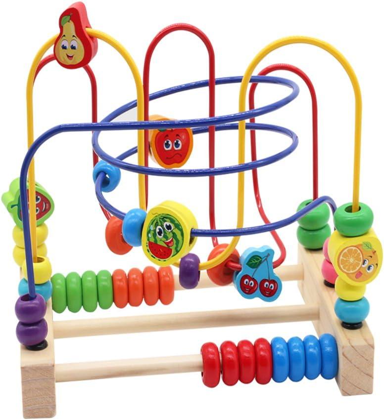 Juguetes de Madera Laberinto Cuentas Ábaco Juguetes Montessori Educativos 6 Frutas con 3 Montaña Rusa Regalo Originales para Niños 3 4 5