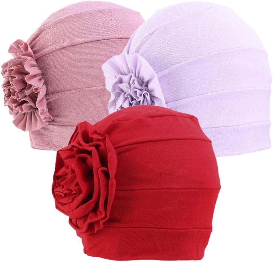 Artibetter 3 Piezas Turbantes de Cabeza de Algodón Gorro de Quimioterapia Elástica Cáncer Pérdida de Cabello Envolver Sombreros Gorro de Noche para Dormir Ducha Salón Color 1