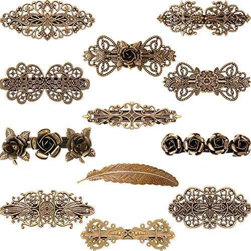 12 Pieces Vintage Metal Hair Clips Retro French Hair Barrettes Bronze Hair Clamps for Women Girls