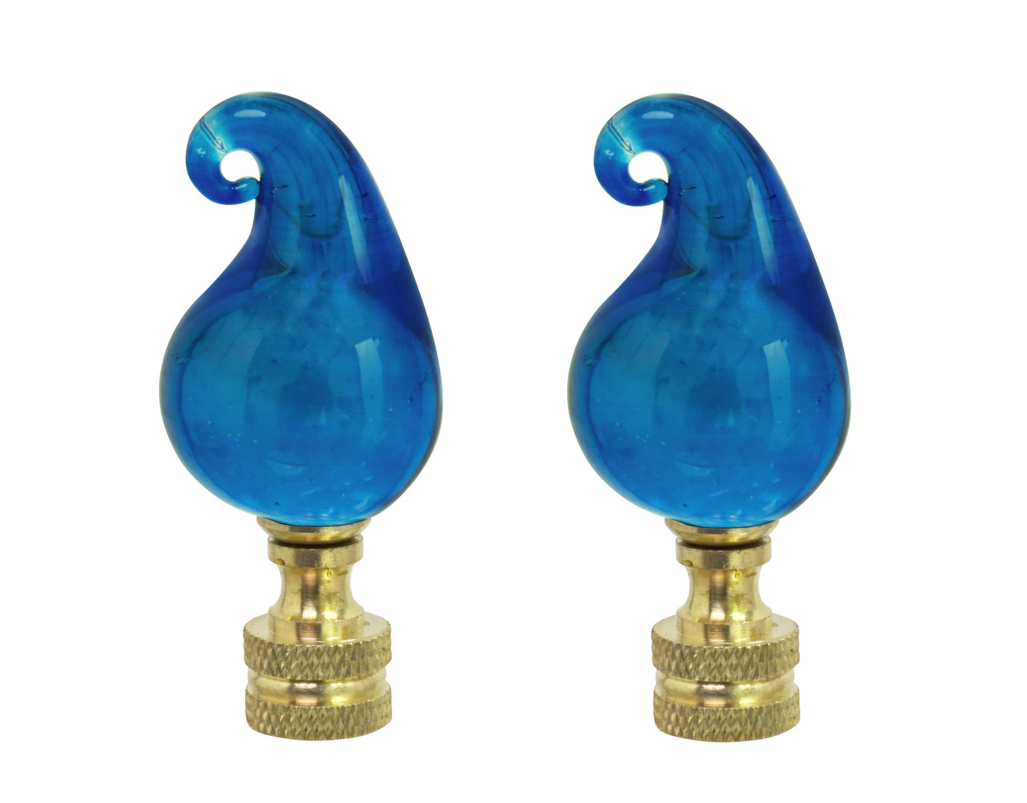 Aspen Creative 24016-12, 2 Pack Blue Glass Lamp Solid Brass Finish, 2 1/2'' Tall Finial, Blue & White