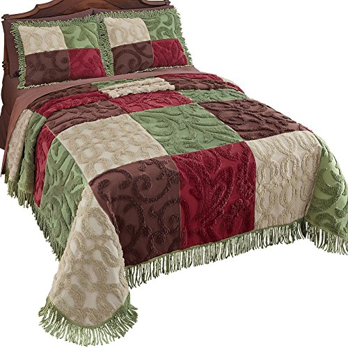 Collections Etc Colorful Patchwork Chenille Fringe Lightweight Bedspread, Green, Queen