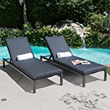 Great Deal Furniture Nealie Outdoor Mesh Black Aluminum Frame Chaise Lounge w/Water Resistant Cushion (Set of 2)