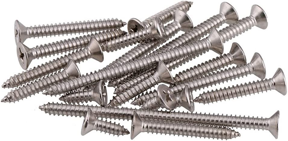 2.6mm M2.6 x 8mm A2 Stainless Steel Phillips Flat Head Self Tapping Wood Screws DIN7982 100pcs//lot M2.6