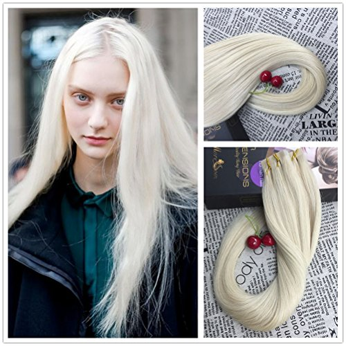 Moresoo 24 inch 100g/40pcs 100% Straight Unprocessed Remy - Blonde Human Hair Extensions 60