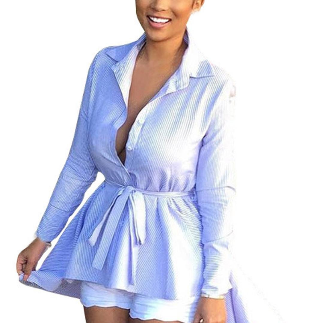 Spbamboo Hot Sale! Women Fashion Long Sleeve Striped Button Tie Casual Dress