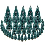 DECARETA 35 PCS Sisal Trees Mini Green Bottle Brush Trees with Wood Base Artificial Snow Frost Trees Ideal for Christmas DIY Craft Party Decoration (4 Size)