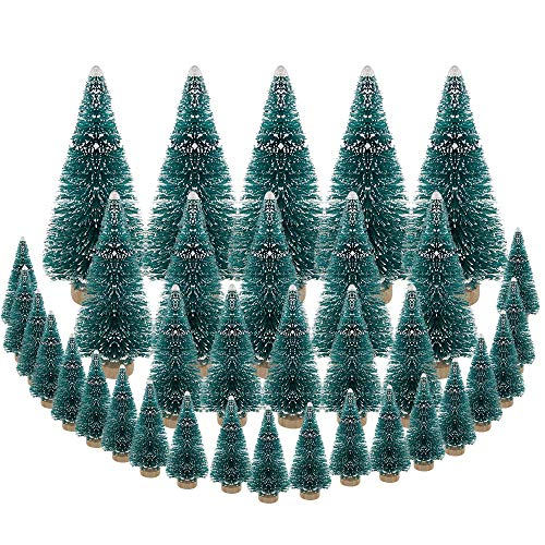 DECARETA 35 PCS Sisal Trees Mini Green Bottle Brush Trees with Wood Base Artificial Snow Frost Trees Ideal for Christmas DIY Craft Party Decoration (4 Size) (Christmas Decorations Craft Tree)