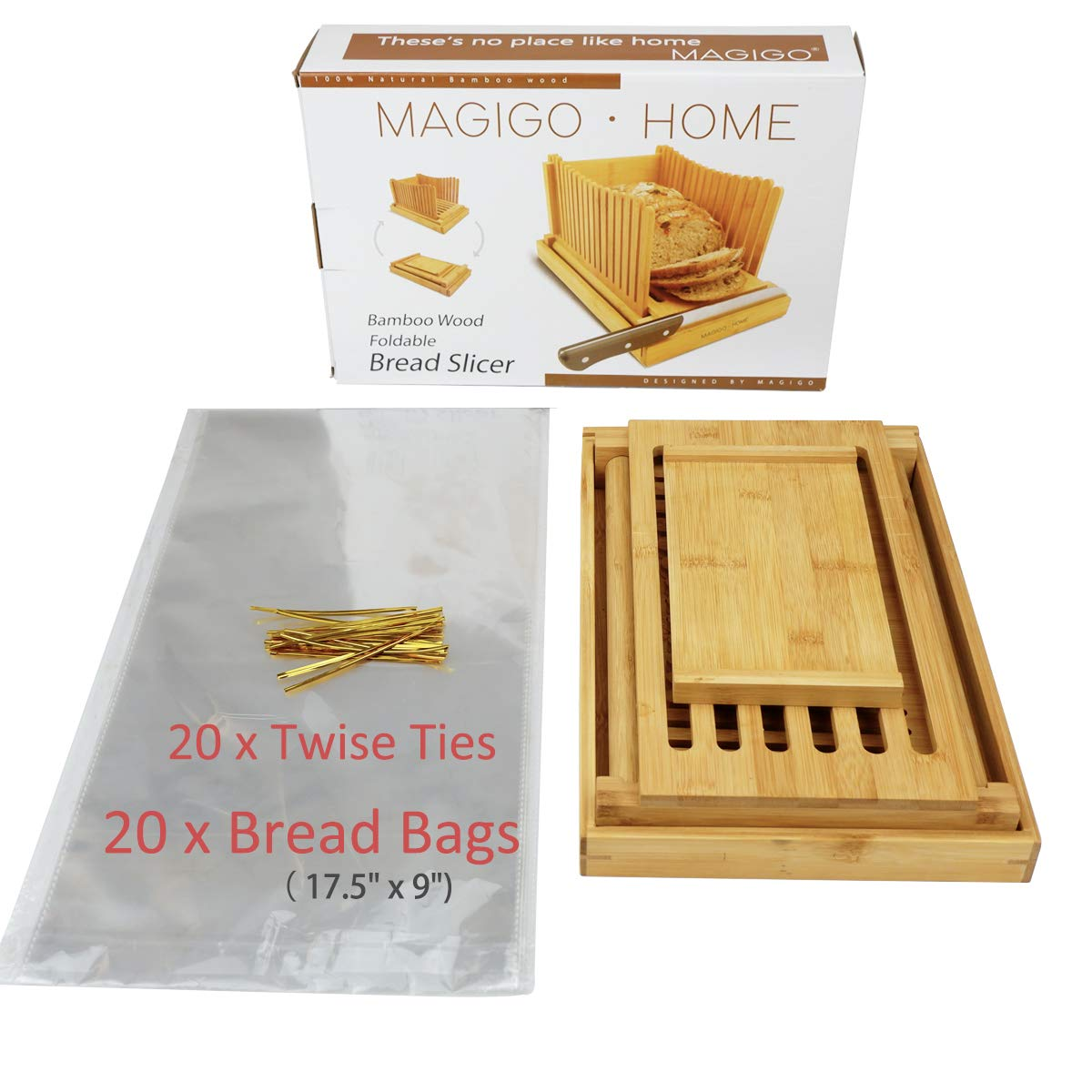 MAGIGO Nature Bamboo Foldable Bread Slicer with Crumb Catcher Tray, Bread Slicing Guide and Knife Rest for Homemade Bread & Loaf Cakes, Thickness Adjustable, Contains 20 Bread Bags & 20 Twist Ties by MAGIGO (Image #7)