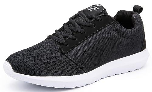 Hombres Con Cordones Zapatillas running Informal Deporte de diseño Gimnasio Zapatos - Negro, 45