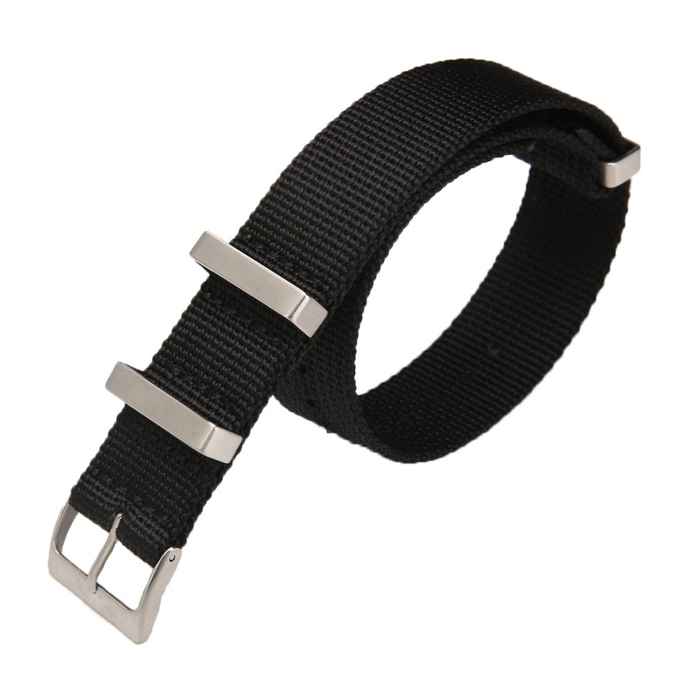 Carty High-Density Nylon NATO Strap Replacement Watchband Men 20mm Black