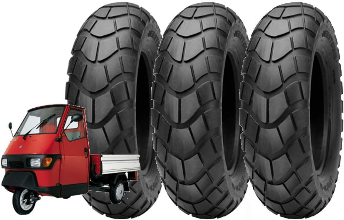 Deestone Set 3 Reifen 100 90 10 Für Piaggio Ape 50 Motorrad Scooter Tassellati Verstärkt 8pr Gomme 61l Reifen Tubeless Sport Freizeit